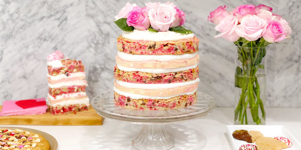 Tickled Pink Cookie Dough Stack Cake