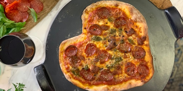 Heart-Shaped Pizza with DIY Toppings