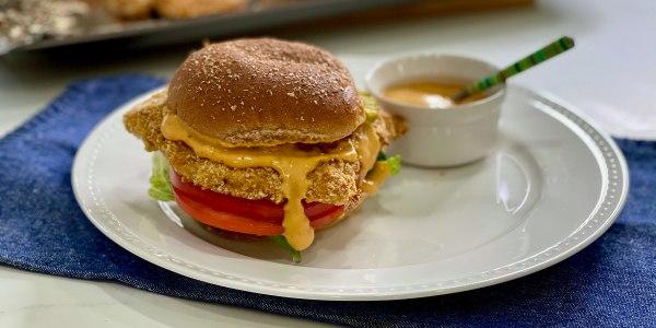 Joy Bauer's Crispy Chicken Sandwich with Tangy Mustard Sauce