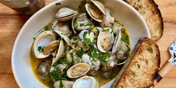 Beer-Steamed Clams with Herb Butter