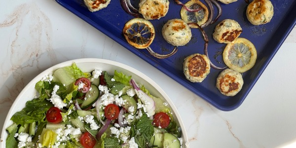 Feta and Oregano Meatballs with Greek Salad