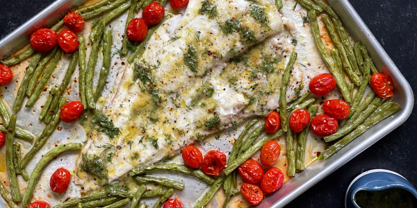 Sheet-Pan Fish with Tomatoes and Green Beans
