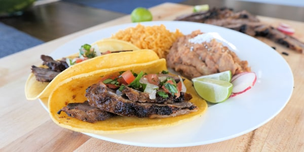 Skirt Steak Tacos with Refried Beans and Mexican Rice