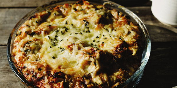 Egg Strata with Caramelized Onion, Gruyère and Thyme
