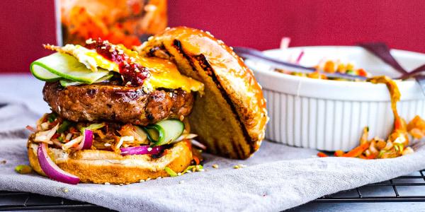 House of Ninja Teriyaki-Glazed Pork Burgers with Spicy Slaw
