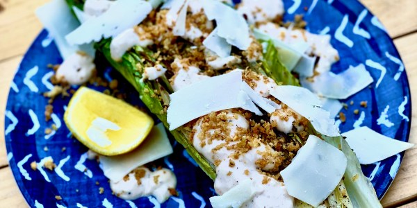 Grilled Romaine with Caesar Dressing and Garlic Breadcrumbs