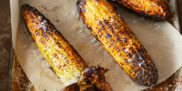 Grilled Corn with Garlic, Basil and Cheese