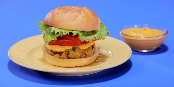 Spiced Chickpea Burgers with Red Pepper Special Sauce