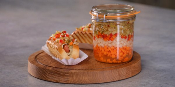 Provolone-Wrapped Hot Dogs with Giardiniera Relish