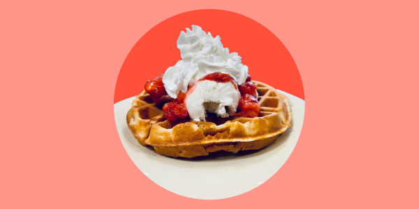 Dylan's waffles and ice cream with strawberries