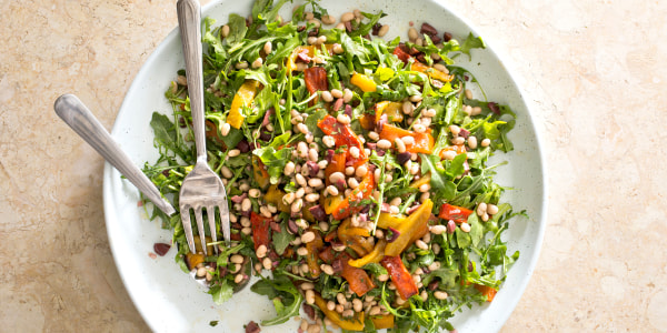 Arugula, Roasted Bell Pepper and White Bean Salad
