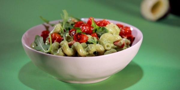 Avocado Cream Pasta with Arugula and Roasted Cherry Tomatoes