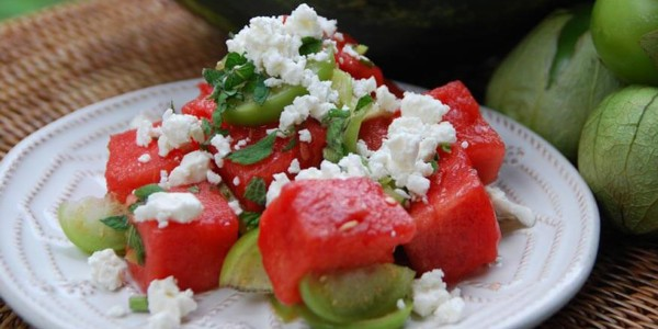 Summertime Watermelon and Tomatillo Salad