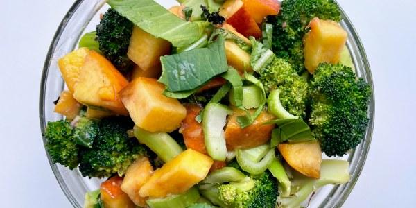 Miso-Peach Roasted Broccoli Salad