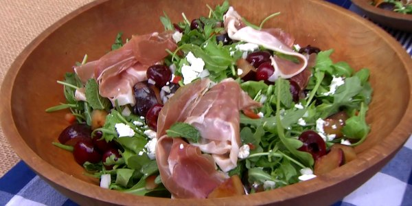 Plum and Cherry Salad with Goat Cheese, Mint and Prosciutto