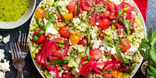 Pearl Couscous Watermelon Salad with Herb Vinaigrette