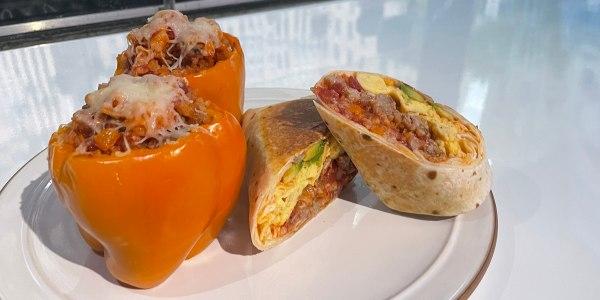 Stuffed Pepper Hash Breakfast Burrito