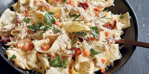 Creamy Pappardelle with Chicken and Bacon