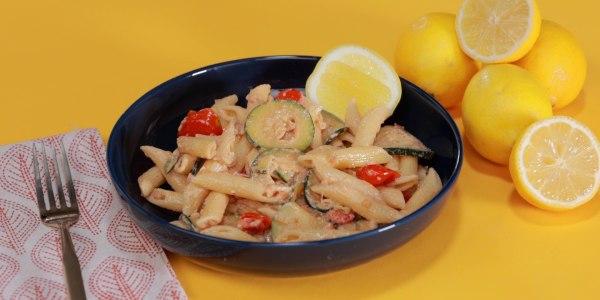 Lemon-Tahini Pasta with Zucchini and Tomatoes