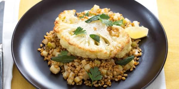 Roasted Cauliflower Steaks with Einkorn and Crispy Sage