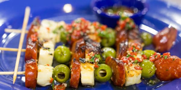 Grilled Chorizo and Haloumi Cheese Skewers