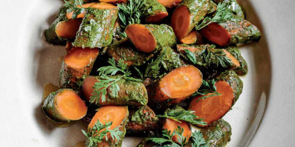 Roasted Carrots with Carrot-Top Chimichurri and Granola
