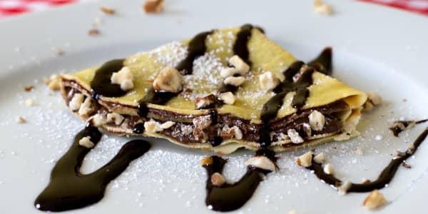 Chocolate-Hazelnut Crepes with Bourbon Whipped Cream