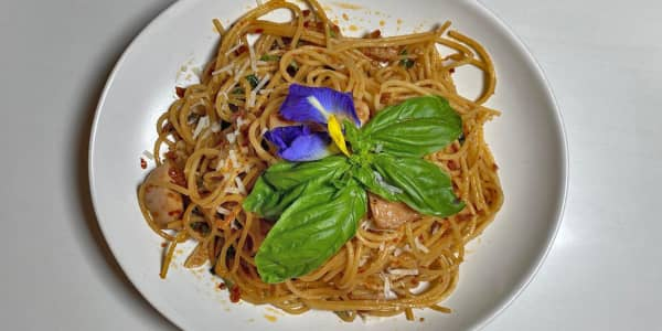 Stir-Fried Spaghetti with Thai Chili Jam and Sun-Dried Tomatoes
