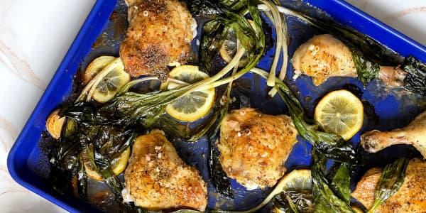 Sheet-Pan Chicken with Ramps, Lemon and Smashed Garlic