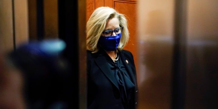 Liz Cheney, R-Wy., departs after a House Republican Caucus meeting on Capitol Hill on Feb. 3, 2021.