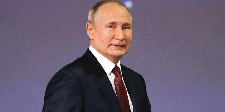 Image: Russian President Vladimir Putin arrives at the St. Petersburg International Economic Forum in Russia on June 4, 2021.