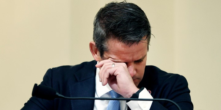 Rep. Adam Kinzinger, R-Ill., wipes his eyes as he listens to testimony before the House select committee hearing on the Jan. 6 attack on Capitol Hill on July 27, 2021.