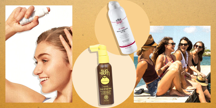 Illustration of a Woman spraying sunscreen in her scalp, two sunscreen products and a group of friends sitting on a pier