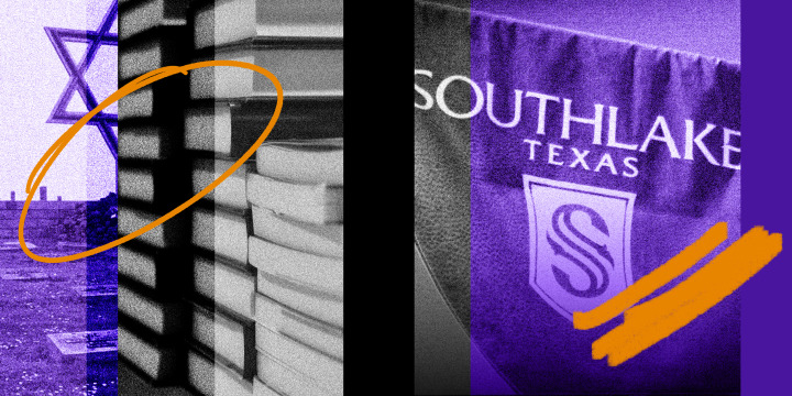 """Photo illustration: Scribbles over images of a Holocaust memorial, stack of books and a banner that reads, """"Southlake Texas""""."""