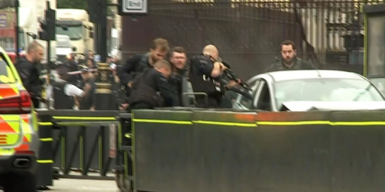 Pedestrians injured as car crashes near U.K. Parliament