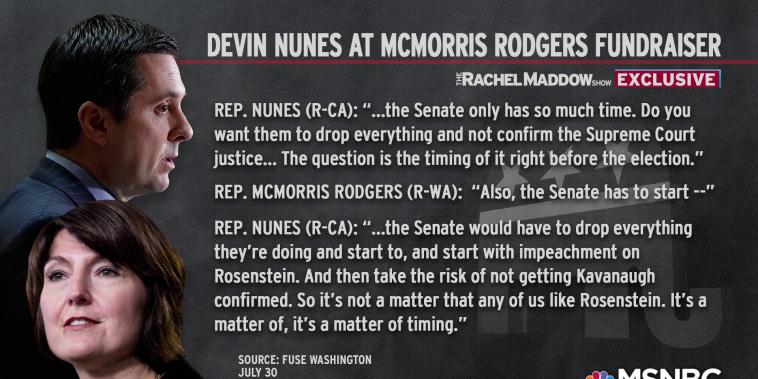 Secret Nunes tape contradicts Paul Ryan on Rosenstein impeachment