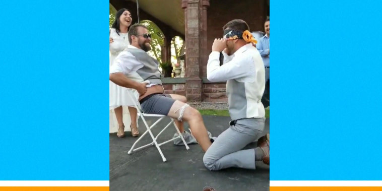 Brother pranks blindfolded groom by replacing bride in garter removal