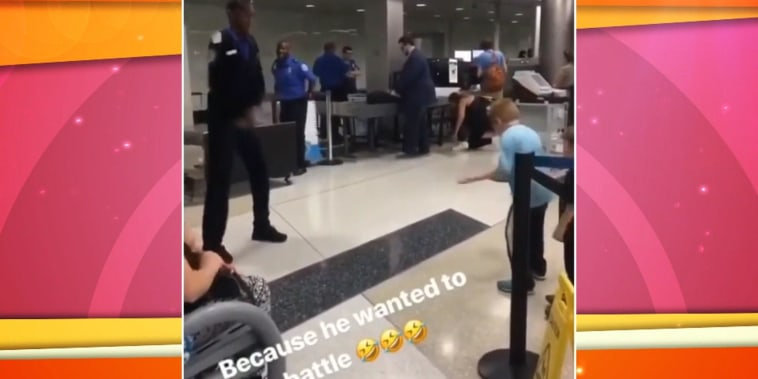 See a TSA officer accept little boy's dance battle challenge at airport