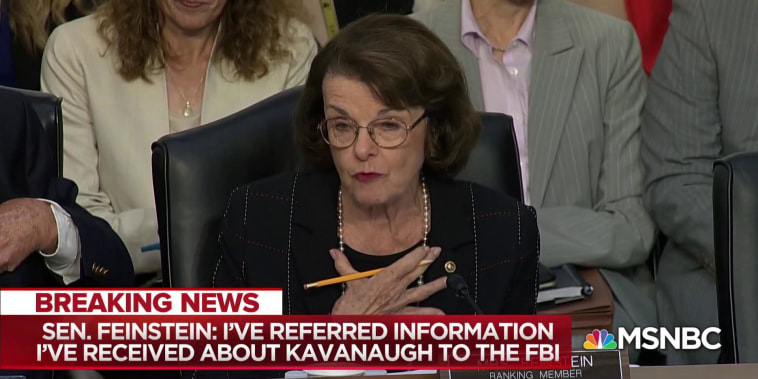 Sen. Feinstein refers mysterious letter about Kavanaugh to FBI