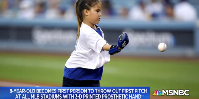 8-year-old throws first pitch at all MLB stadiums with prosthetic hand