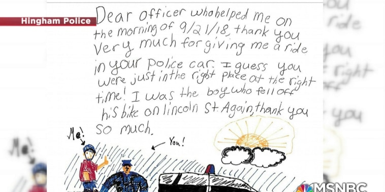 #GoodNewsRUHLES: Cop gives kid a ride after falling off his bike