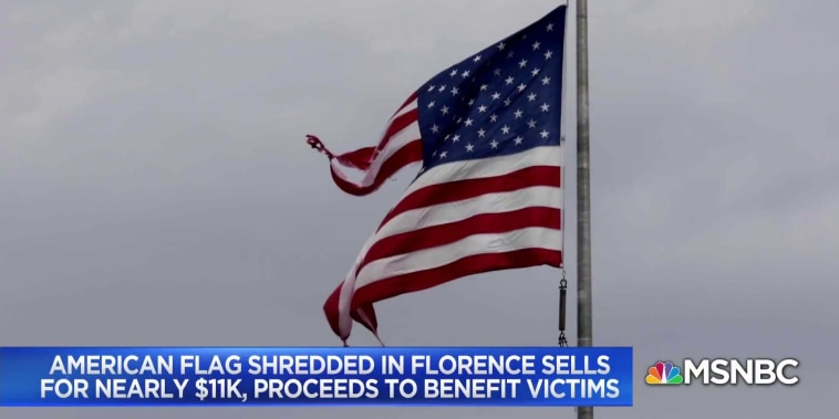 American flag shredded in Hurricane Florence sells for nearly $11k