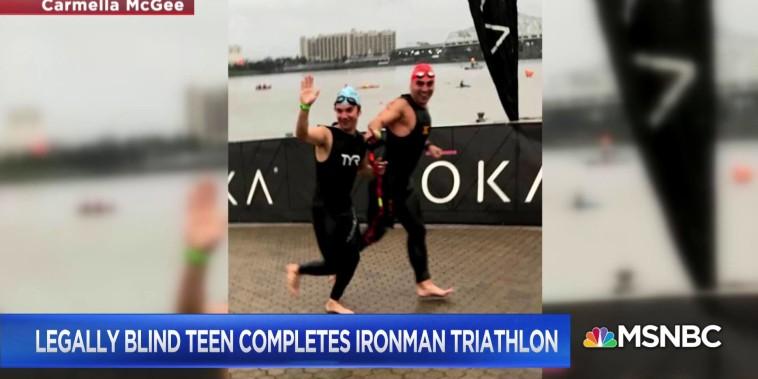 Legally blind teen completes Ironman triathlon