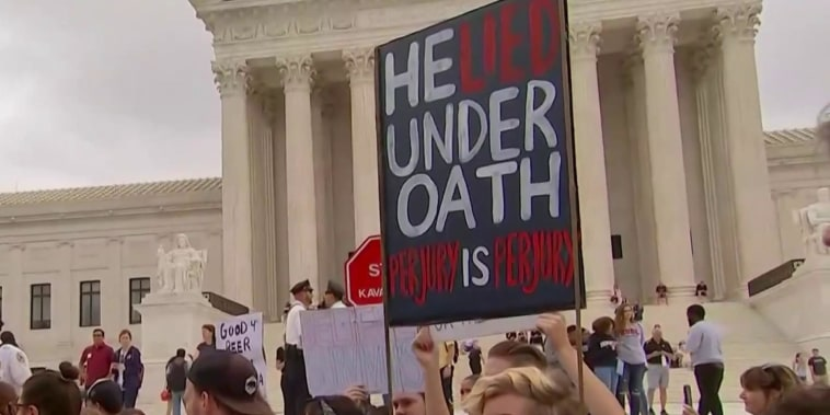 Protesters gather outside Supreme Court ahead of Kavanaugh vote