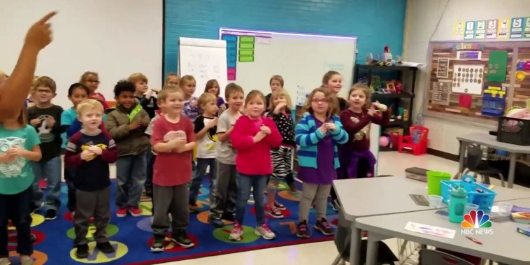 Kindergarten class learns to sign 'Happy Birthday' in heartfelt surprise