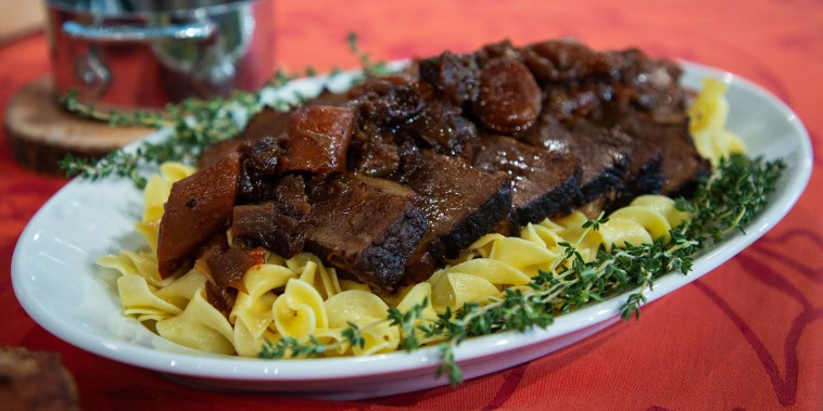 Make Melissa Clark's red wine brisket and Gruyere macaroni and cheese