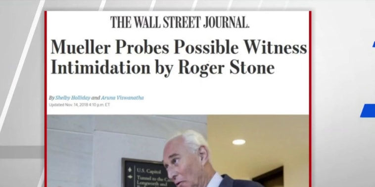 WSJ: Mueller probes possible witness intimidation by Stone