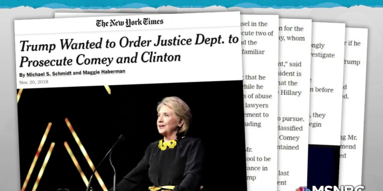 Trump wanted lawyers to ask DOJ to prosecute Clinton, Comey: NYT