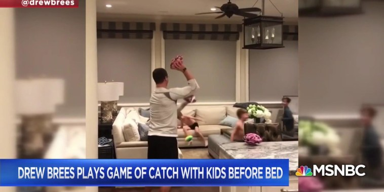 Drew Brees plays game of catch with kids before bed