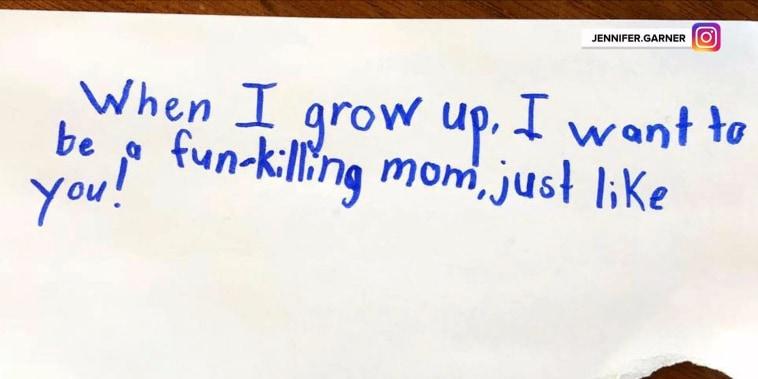 Jennifer Garner gets hilarious 'fun-killing mom' note from daughter